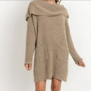Cowl neck folded sweater dress